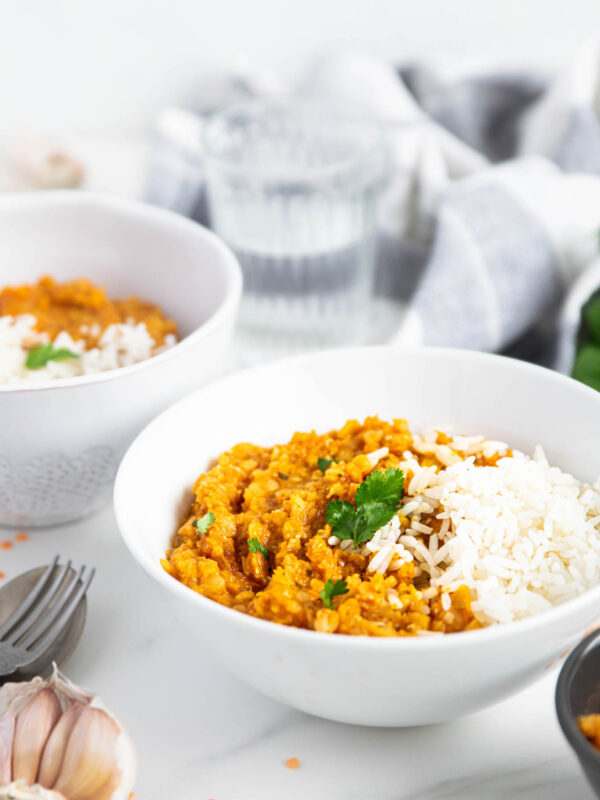 Sweet potato dahl with white reice