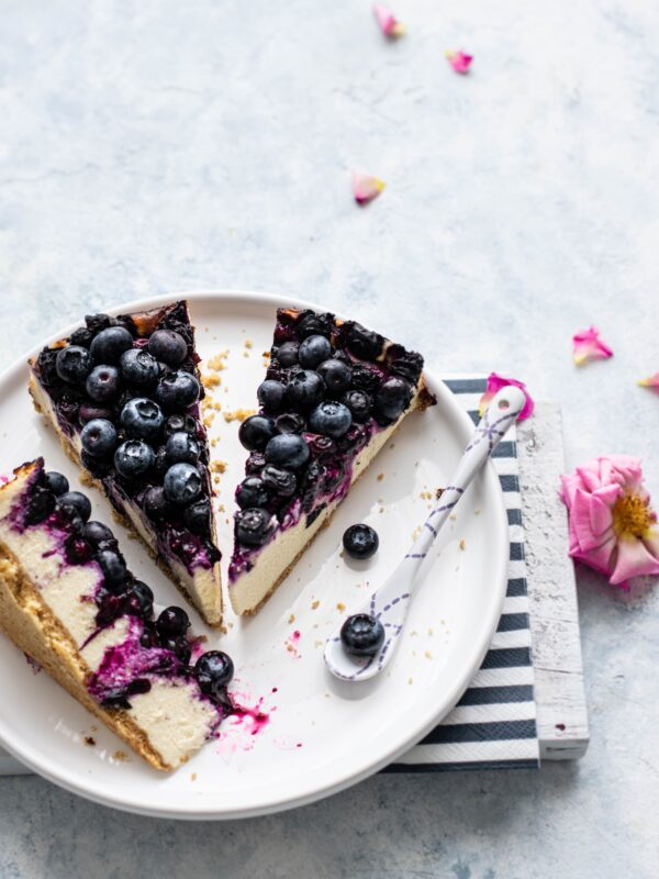Sliced blueberry cheesecake