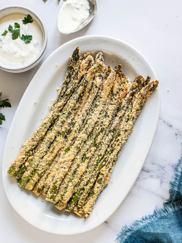 Roasted asparagus on a serving dish
