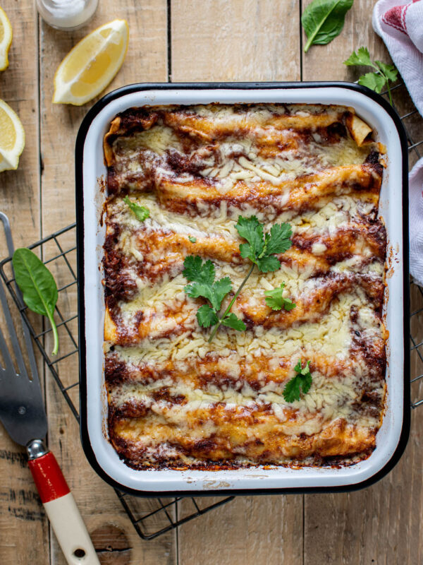 A tray of oven baked enchiladas