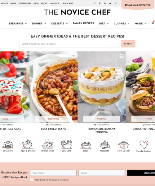 The Novice Chef Homepage