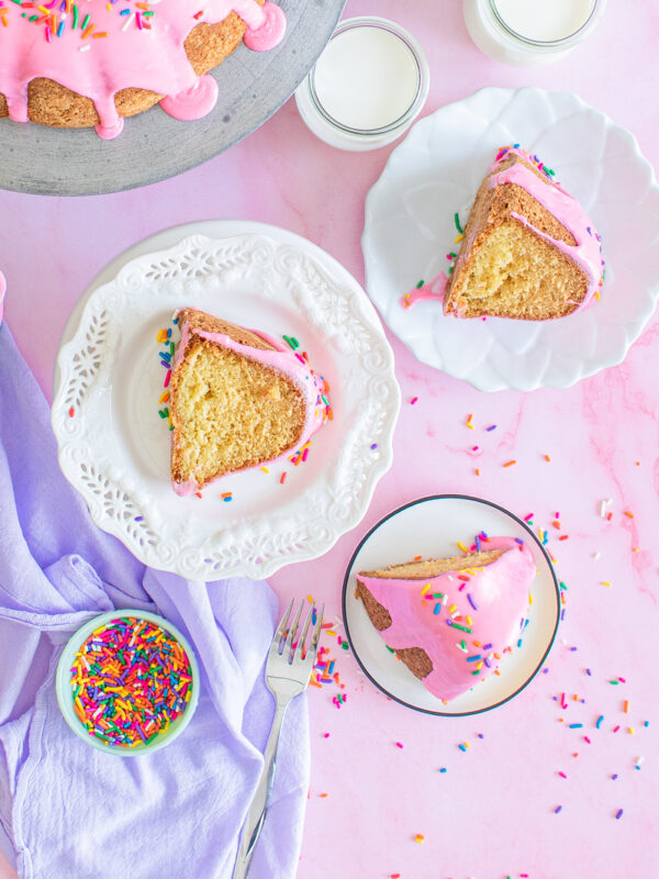 Slices of bundt cake with pink frosting