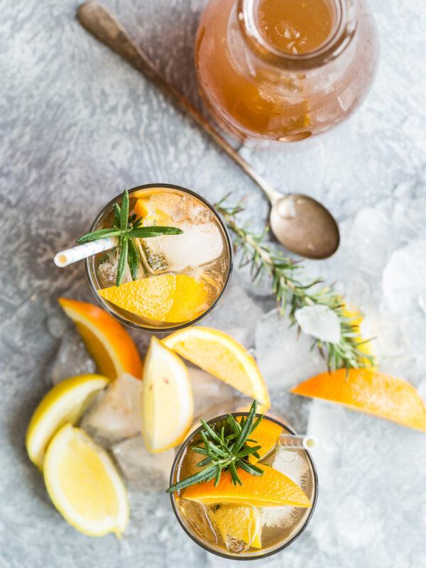 Cocktails with orange slices