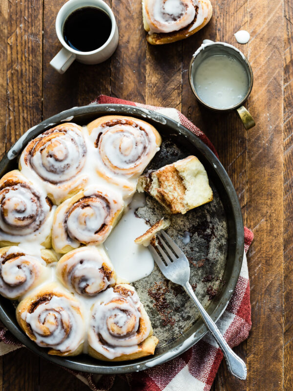 Cinnamon buns in a cast iron skillet