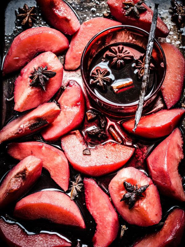 Sliced baked fruit